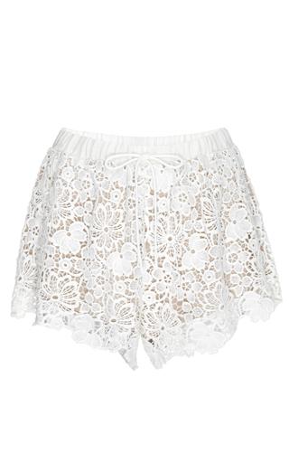 Medium fleur du mal ivory guipure lace shorts