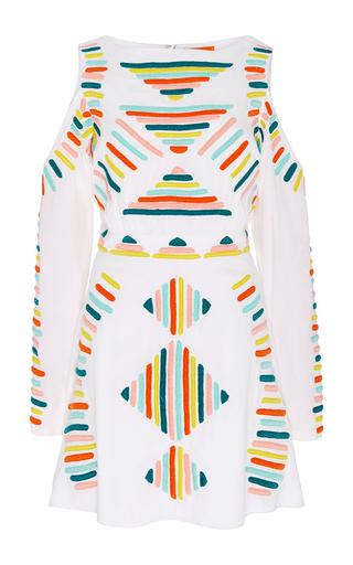 Medium pia pauro white white cutwork long sleeve dress