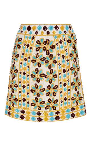 Medium pia pauro yellow sequin floral mini skirt
