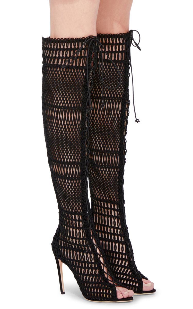 giambattista valli knee high caged boots