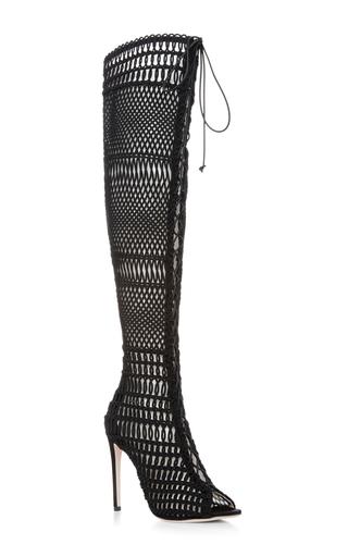 Medium giambattista valli black knee high caged boots
