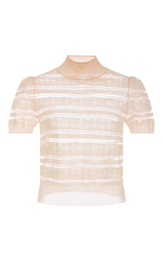 Sheer Striped Turtleneck Knit  by CACHAREL Now Available on Moda Operandi
