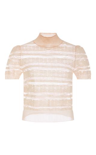 Medium cacharel  2 pink sheer striped turtleneck knit