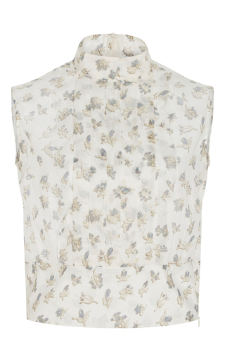 Silk Printed Ruffle Front Top by CACHAREL Now Available on Moda Operandi