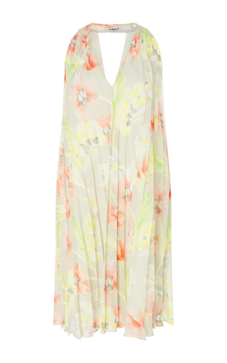 Medium cacharel  2 floral floral printed v neck dress with pleats