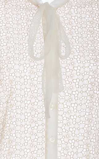 Sheer Silk Blend Blouse With Neck Tie by CACHAREL Now Available on Moda Operandi