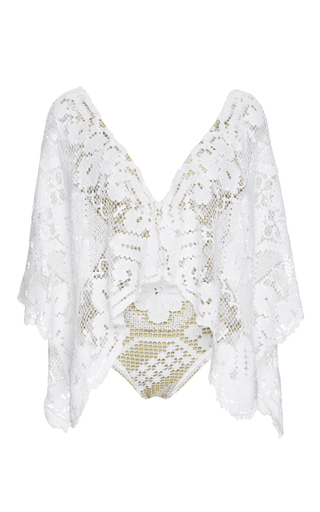 Medium agua de coco print lace embroidered one piece swimsuit with extended sleeves
