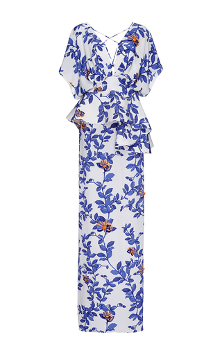 Medium johanna ortiz royal blue silk bluebell embellished maxi dress