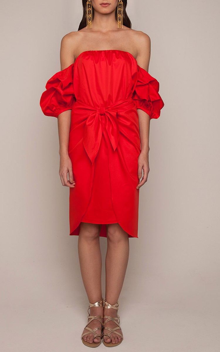 Red Cotton Off The Shoulder Poppy Dress by Johanna | Moda Operandi