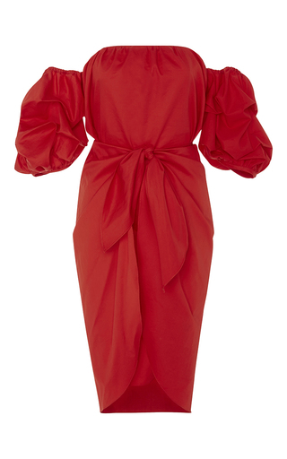 Red Cotton Off The Shoulder Poppy Dress by JOHANNA ORTIZ Now Available on Moda Operandi