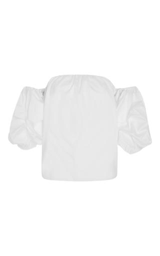 White Cotton Poplin Off The Shoulder Tulum Top by JOHANNA ORTIZ Now Available on Moda Operandi