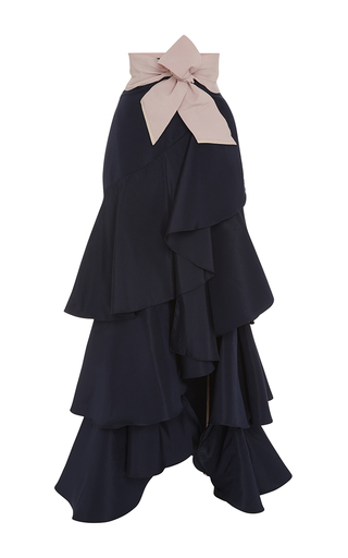 Medium johanna ortiz black silk ruffled midnight skirt