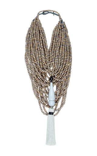 Medium erika pena light grey two in one mona island beaded necklace