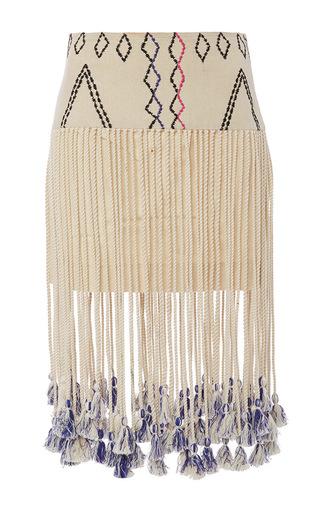 Medium gypset ivory silk kenza fringed aztec print skirt