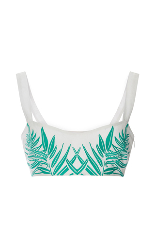 Medium mara hoffman white cotton leaf embroidered bralette top