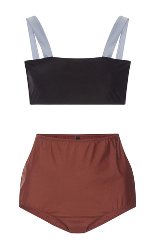 Medium rochelle sara multi bandeau top and high waisted bottoms bikini set