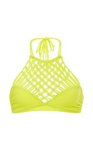 Medium mikoh yellow lanikai halter woven bikini top