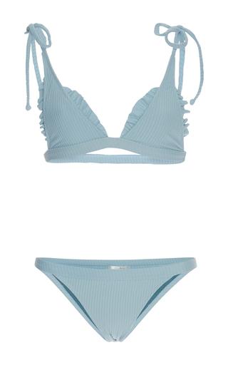 Medium made by dawn light blue ribbed traveler string bikini set