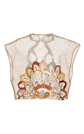 Medium agua de coco orange arabesque embroidered mesh top