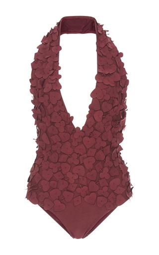 Medium lenny niemeyer burgundy appliqued one piece swimsuit