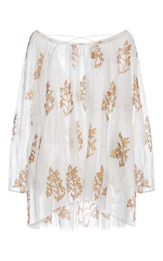 Medium juliet dunn white cotton mini caftan with floral detail