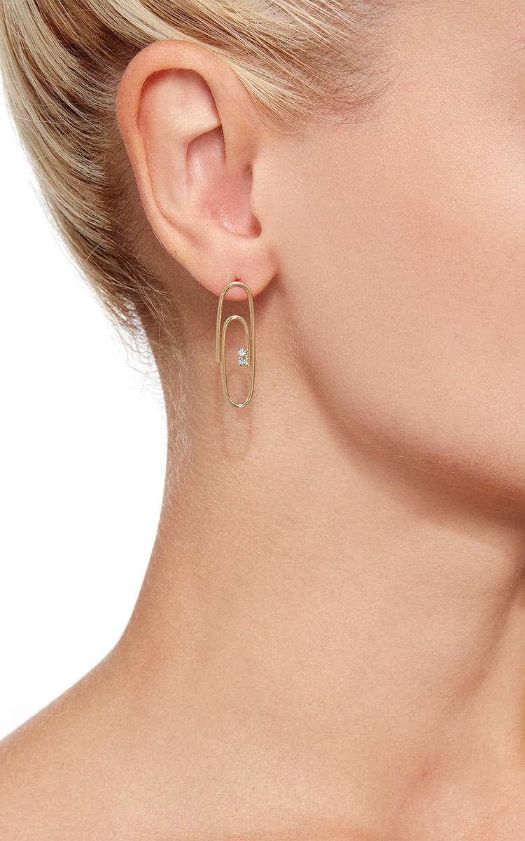 Lauren Klen Paperclip Earrings With Diamonds Close Loading