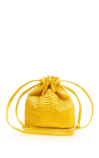 Medium hunting season yellow yellow python mini bucket bag