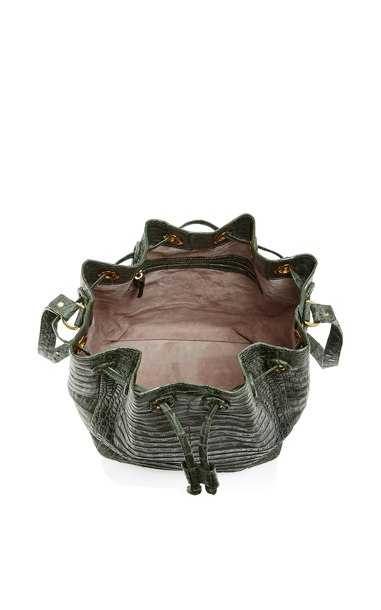 Large Crocodile Olive Drawstring Bucket Bag by Hunting ...