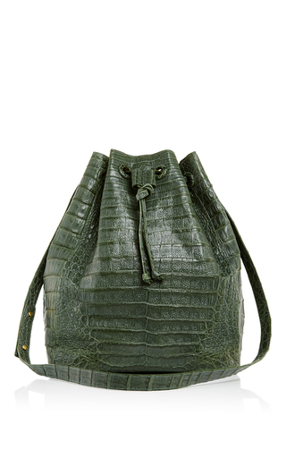 Medium hunting season olive large crocodile olive drawstring bucket bag