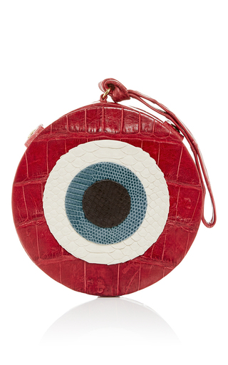 Medium hunting season red m o exclusive red crocodile evil eye clutch
