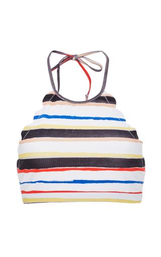 Medium marysia swim stripe mott multicolor striped cropped bikini top