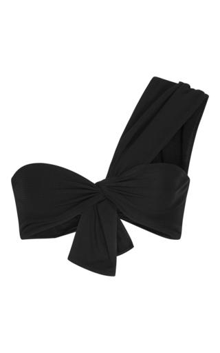 Medium marysia swim black venice one shoulder bikini top with knot front