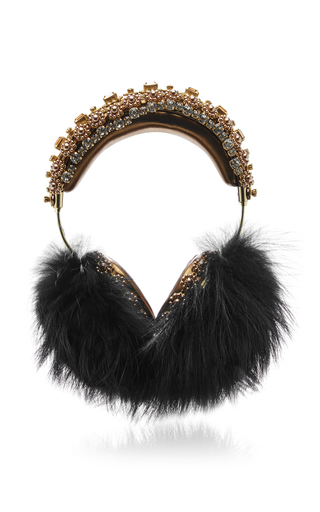 Medium dolce gabbana multi fox fur and swarovski crystal embellished headphones