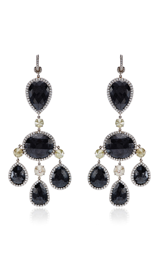 Medium nina runsdorf black one of a kind black diamond chandelier earrings