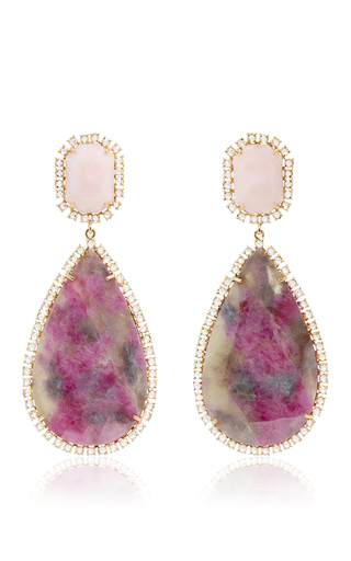Medium irene neuwirth pink one of a kind 18k rose gold earrings