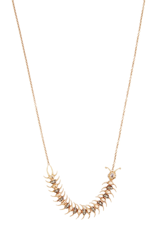 18 K Gold And Champagne Diamonds Centipede Necklace by DANIELA VILLEGAS Now Available on Moda Operandi