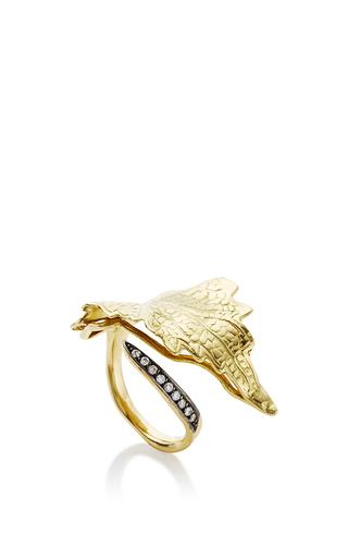 White Diamond And 18 K Yellow Gold Leaf Ring by ANA KHOURI Now Available on Moda Operandi