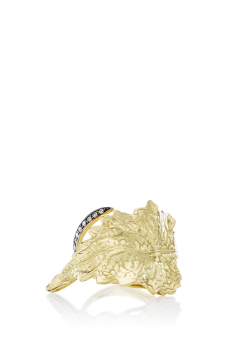 Medium ana khouri gold white diamond and 18k yellow gold leaf ring