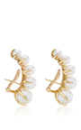 White Pearl And 18 K Yellow Gold Time Earrings by ANA KHOURI Now Available on Moda Operandi