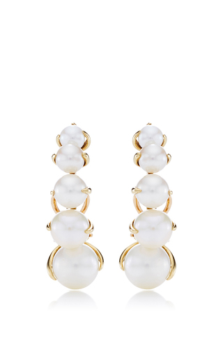 Medium ana khouri gold white pearl and 18k yellow gold time earrings