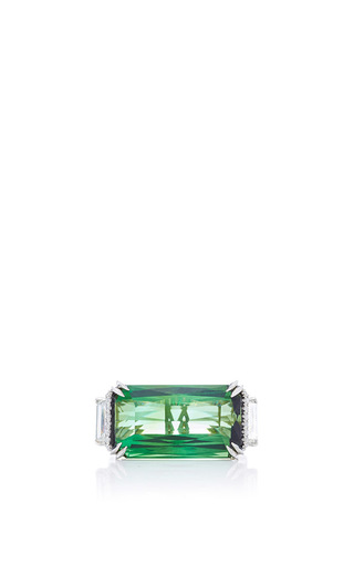 Tourmaline And Green Emerald Scissor Cut Ring by ALEXANDRA MOR Now Available on Moda Operandi