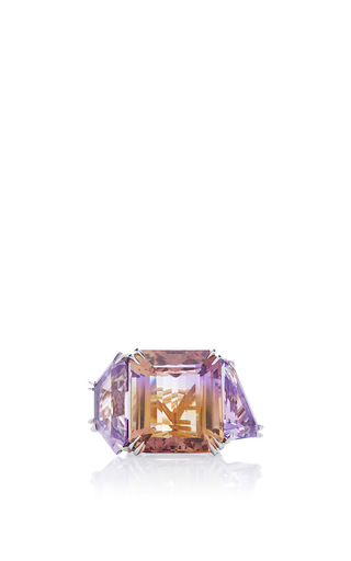 Medium alexandra mor purple asymmetrical ametrine and diamond three stone ring