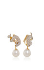 Gold And Diamond Serpent Earrings With Pearl Drop by GIOIA Now Available on Moda Operandi