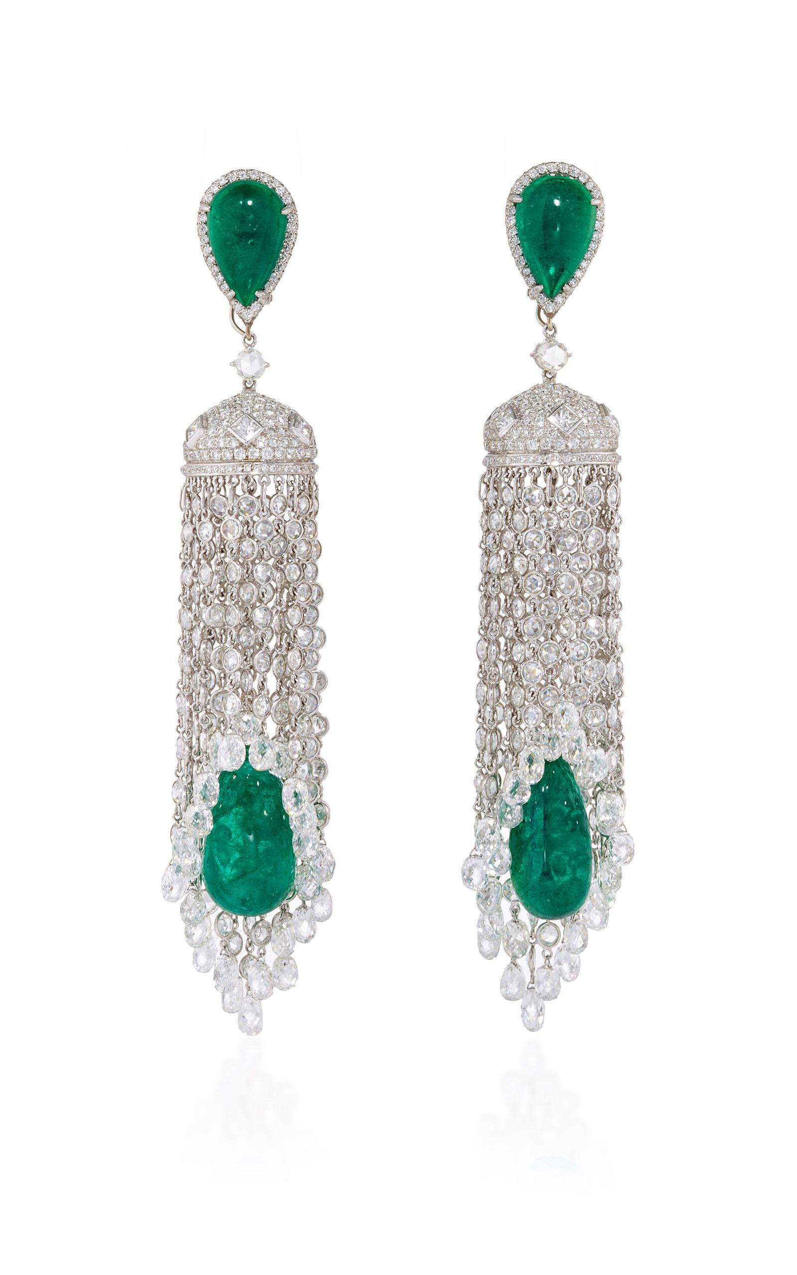 Pear Shaped and Cabochon Emerald and White Diamond | Moda Operandi