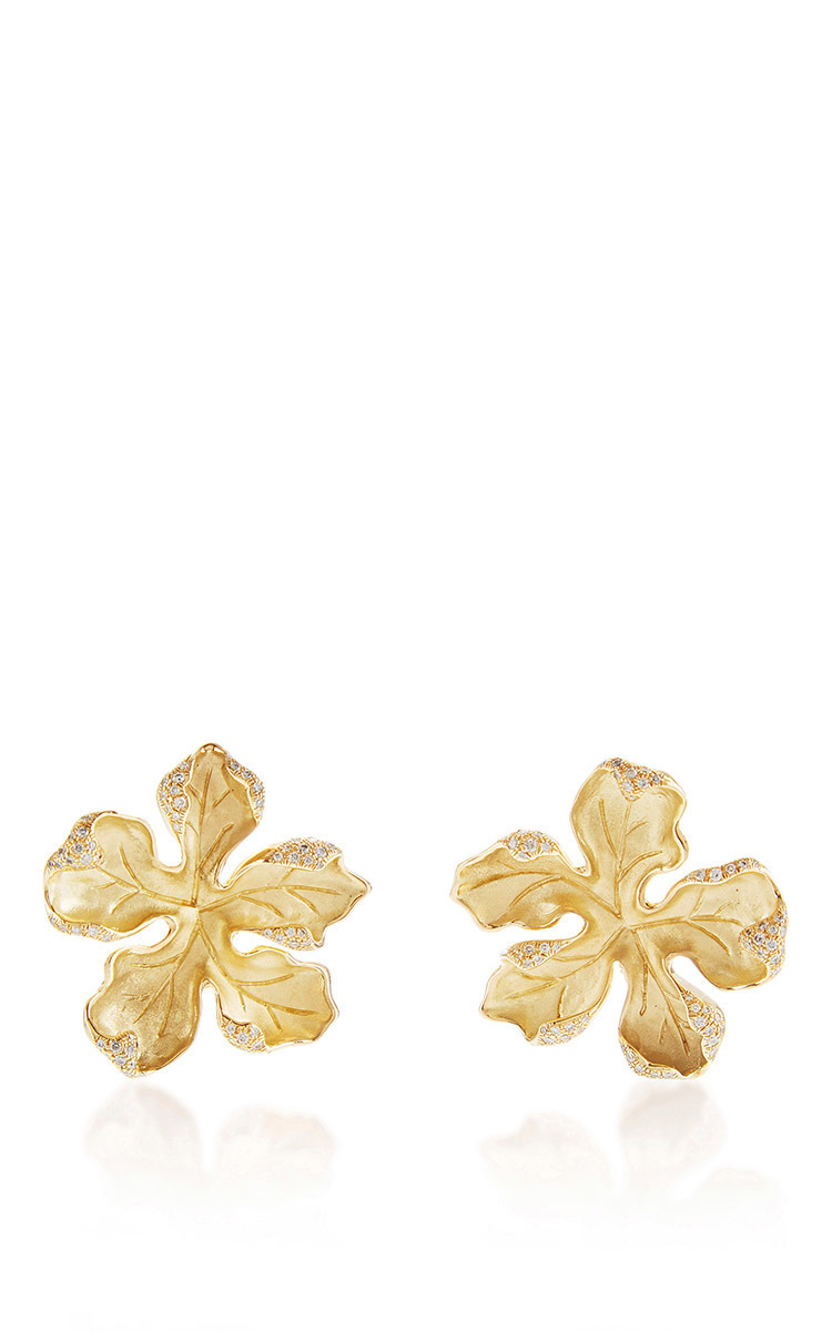 white pink flower large sapphire sabbadini earrings the earring statement operandi moda gold editorial and
