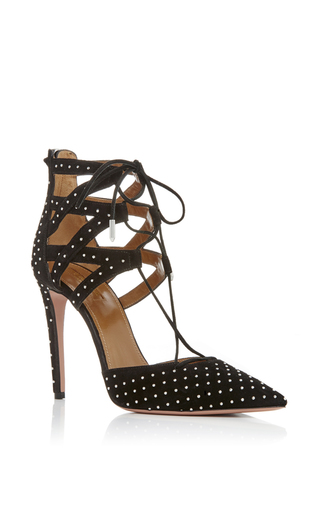 Black Suede Studded Belgravia Pumps by AQUAZZURA Now Available on Moda Operandi