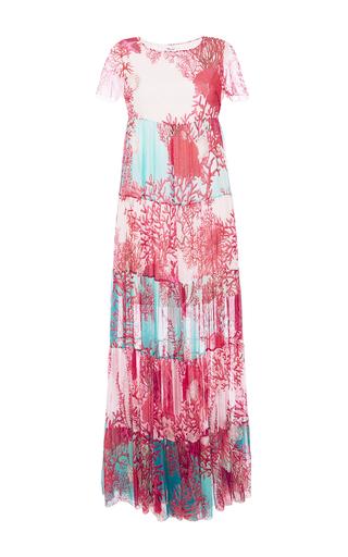 Medium blugirl blue short sleeve coral print gown