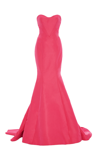 Medium monique lhuillier pink strapless silk faille trumpet gown