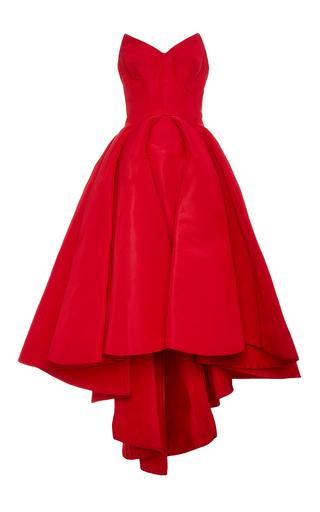 Medium zac posen red silk faille strapless dress