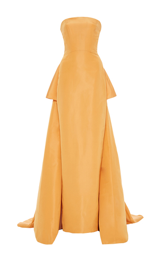 Medium pamella roland orange strapless silk gown